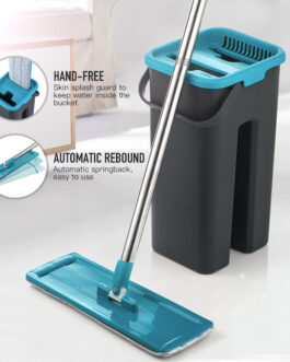180 Degree Rotation Flat Mop And Bucket Microfibre Pad Wet And Dry Cleaning Floor Mop